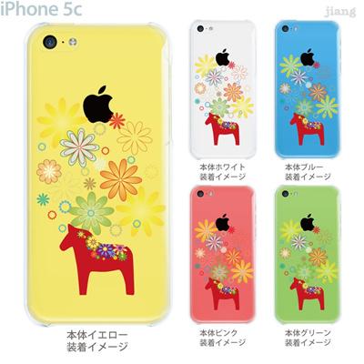 【iPhone5c】【iPhone5cケース】【iPhone5cカバー】【ケース】【カバー】【スマホケース】【クリアケース】【フラワー】【vuodenaika】【北欧】【ダーラナホース】 21-ip5c-ne0052の画像