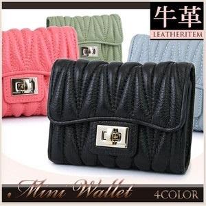 二つ折り財布レディースサイフ wllk-3148b★セール牛革のレディース二つ折り財布の画像