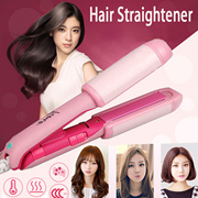 Professional Mini Dual Wet Dry Use 2 in 1 Hair Straightener Curler Curl Treatment hair roller Electric stick pear Jumbo ceramic plywood perm artifact air volume bangs