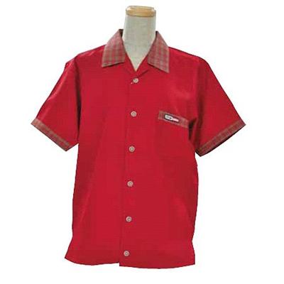 ABS(アメリカン ボウリング サービス) オープンシャツ 衿 チェック レッド A-412-3 【Pro-ama ボウリングウェア メンズ レディース ボーリング】の画像