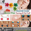 ★[Swarovski Crystal Silicone earring] Allergy Free/piercing/Jewelry Unisex Fashion/Birthday/Anniversary/singapore