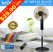 【KRONEN 16INCH (40CM) METAL BLADE FAN】WITH REMOTE CONTROL | 3 SPEED ADJUSTABLE | SAFETY MARK APPROVED | 1 YEAR LOCAL WARRANTY