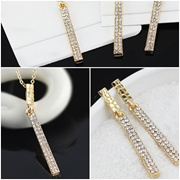 18K Gold Plated Austria Rhinestones Pendant Necklace Earrings Jewellery Set