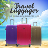 ★New Design★Hard case 4 Wheel Spinner Expandable ABS Luggage Trolley Case with TSA lock 20/24/28inch /Lightweight Waterproof/ Black Red Purple Bronze Blue Pink Cream