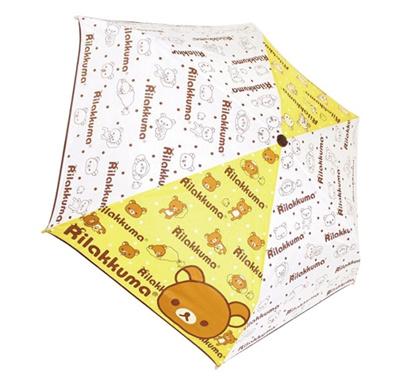 【送料無料】大人気のリラックマが傘になって登場!リラックマ ロゴ&フェイス 折りたたみ傘 53cm キャラクター折畳傘の画像
