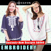 ★RESTOCK★ Bohemian Style Embroidery Tunic / Tops / Dress Fit S to L / TUNIC TOP DRESS / Ladies Loose fit Top/ Dress/  - Free Normal Mail