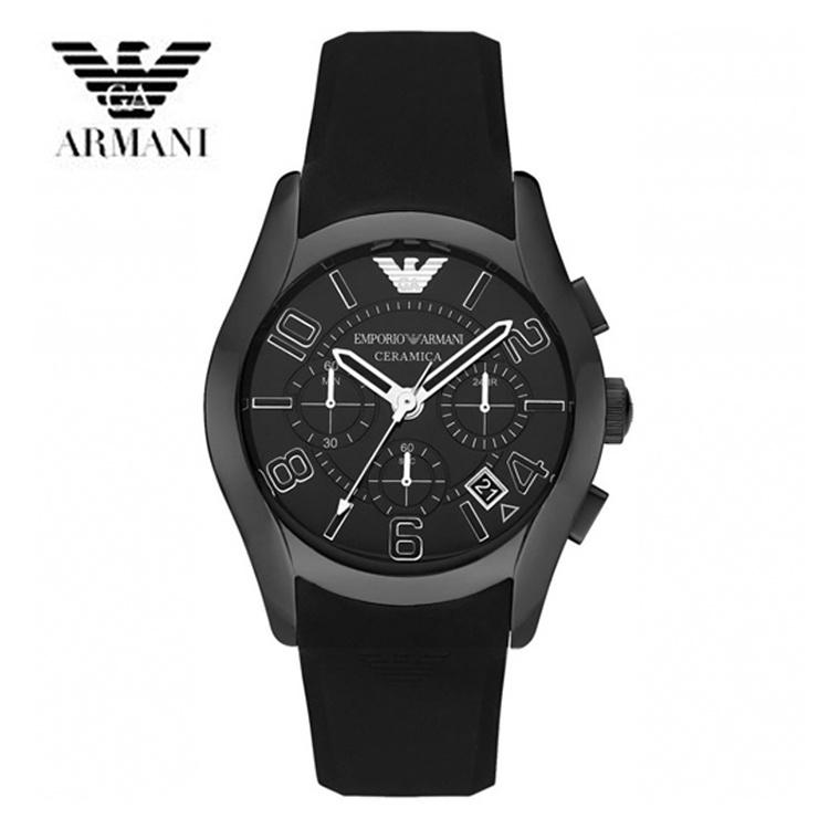 【クリックで詳細表示】EMPORIO ARMANI エンポリオ アルマーニ セラミック メンズ 腕時計 AR1430 ブラック 黒 ラバー クロノグラフ クオーツ カジュアルウォッチ
