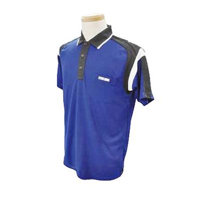ABS(アメリカン ボウリング サービス) 肩配色切り替え ポロ ブルー A-502-2 【Pro-ama ボウリングウェア メンズ レディース ボーリング】の画像
