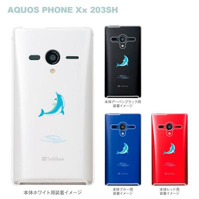 【AQUOS PHONEケース】【203SH】【Soft Bank】【カバー】【スマホケース】【クリアケース】【イルカ】 08-203sh-ca0016の画像