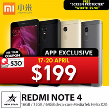 [XIAOMI] REDMI NOTE 4 ★64GB/3GBRAM★ 4100mAH Battery|MediaTek Helio X20 10 core processor! SG Seller