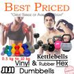 Vinyl Dumbbells Kettlebells | Hex Dumbbells | 0.5kg - 10kg | Vinyl Anti Slip Coat || Rubber Coated