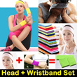 UNISEX Elastic Head + Wristbands Set 护腕头带套装 for Yoga / All Outdoor Activities / Workouts / Facial / Spa - *High Sweat Absorption/Protection/Soft/Comfortable* Premium Quality