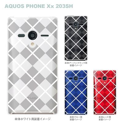 【AQUOS PHONEケース】【203SH】【Soft Bank】【カバー】【スマホケース】【クリアケース】【チェック・ボーダー・ドット】【チェック柄B】 08-203sh-ca0097bの画像