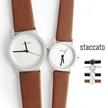 [staccato] 113 腕時計 レディース ペア 腕時計 【プレゼントにピッタリ】 シンプルラインスリムウォッチ  6色♥  腕時計 レディース 革ベルト ♬ slim watch 113