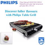 [Good Deal!] Philips Table grill HD4419/20 2300 W Ribbed/Smooth plate High temperature grill plate 300 x 370 mm
