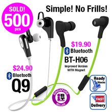 [Bluetooth Wireless Earpiece] No Frills Basic Sport Bluetooth Stereo Wireless Earpiece Headset headphone Earphone For all Bluetooth enable devices SG Seller Fast Delivery[Valentine Gift] Birthday Gift