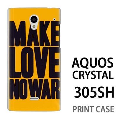 AQUOS CRYSTAL 305SH 用『0116 メイクラブ・ノーウォー 黄×黒』特殊印刷ケース【 aquos crystal 305sh アクオス クリスタル アクオスクリスタル softbank ケース プリント カバー スマホケース スマホカバー 】の画像