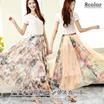 清涼感たっぷりシフォン花柄ロングスカート ゴム仕様ウエスト 夏ロングスカート UVカットロングスカート花柄 8color