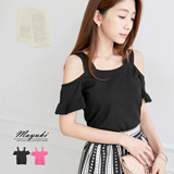 MAYUKI - Basic Cold Shoulder Knit Top-5014070
