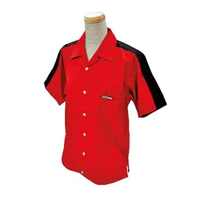 ABS(アメリカン ボウリング サービス) 肩配色切り替え オープン レッド/ブラック A-511-2 【Pro-ama ボウリングウェア メンズ レディース ボーリング】の画像