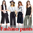 KU05 New arrivals! Denim pants / high waisted jeans / trousers / dark blue / show thin Suspenders / Ladies trousers/ Seven points wide leg pants/ Breathable retro casual pants /9 sub casual pants /