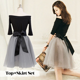 [2 SET] ★ Korea fashion industry NO.1 Attrangs ★limited special price ♥ incredible bargain ♥ 2015 F/W High Quality! Trendy Off-shoulder dress set/OP1546