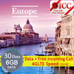 ◆ ICC◆【Europe Sim Card · 30 Days】 1/3GB❤2/6GB(4GLTE*) Data+Free Incoming Call❤Can Activate in SG(A