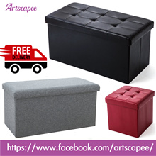 Storage Sofa Stool Ottoman Box PU Leather and Fabric