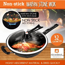 [Special Offers] 32CM Maifan stone non-stick wok / oil-free / induction cooker and gas stove