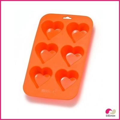 【日用品】 chaeum silicone シリコンクッキー型(ハート)6 hole (orange)HKS-088の画像