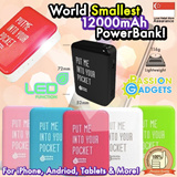 FREE CABLES!★Pocket mini 12 Mini12 12000 mAh★Gem Stone Portable Charger / PowerBank / Power Bank / Samsung / Note3 Note 4 / Xiaomi / HTC / Blackberry / iPhone5/6/6plus / LG