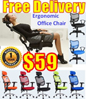 Ergonomic Chair Swivel Chair Executive Chair Boss Chair Office Chair Student Chair Computer Chair with 10 Years Solid Chrome Wheel Base Warranty/ Furniture / Household etc /