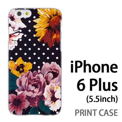 iPhone6 Plus (5.5インチ) 用『1000 花×ドット 灰』特殊印刷ケース【 iphone6 plus iphone アイフォン アイフォン6 プラス au docomo softbank Apple ケース プリント カバー スマホケース スマホカバー 】の画像