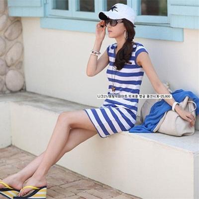 【ZAKZAK・国内発送】送料無料 ワンピース ゼブラ ストライプ オシャレ夏服 #5728#の画像