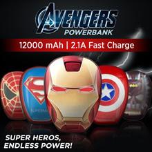 12000mAh Cartoon Avengers League of Legends Mobile Power Colorful Seven Color Light