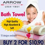 [ARROW Bath Towel 2 for $10.90] START ON 29 JUL 22:00HRS! NEW STOCK/MORE DESIGN. Size 70cm x 140cm) 10 Designs Available! 100% Cotton!