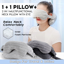 1+1 Pillow+ ♦ 2 in 1 Multifunctional Neck Pillow with Eye mask ♦ Design for Travel and Office