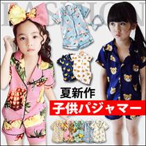 LL290夏新作 可愛い上下セット 女の子 男の子パジャマ 家服 キッズ服 韓国ファッション 子供パジャマー   上着+ショートパンツ/セット