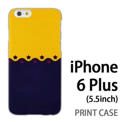iPhone6 Plus (5.5インチ) 用『1002 星とハート 黄×紺』特殊印刷ケース【 iphone6 plus iphone アイフォン アイフォン6 プラス au docomo softbank Apple ケース プリント カバー スマホケース スマホカバー 】の画像