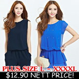 31-JUL SUPER CLEARANCE!! FLAT PRICE $12.90!! Plus Size (L-XXXXL) OL Work Party Casual Dress Top Blouse Cardigan Blazer Shorts Pants Skorts Jumpsuit Wedding Dinner