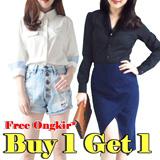 [Buy 1 Get 1] Free Ongkir*! women longsleeve shirt blouse office look kemeja wanita pakaian wanita