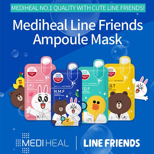?MEDIHEAL Line Friends Mask?N.M.F Aquaring Ampoule?I.P.I Lightmax Ampoule?P.D.F A.C Dressing Ampoule Deals for only S$14.9 instead of S$0
