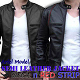 [Ariel Series] Semi Leather Jacket - Red and Black Strip