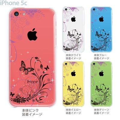 【iPhone5c】【iPhone5cケース】【iPhone5cカバー】【ケース】【カバー】【スマホケース】【クリアケース】【フラワー】【花と蝶】 22-ip5c-ca0069の画像