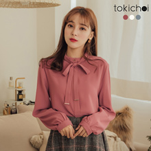 TOKICHOI - Bow Tie Gold Buckle Chiffon Long Sleeve Top-182110-Winter