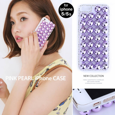 ピンクパール iPhoneケース iPhone5 5s対応 418521 スマホケース アクセサリー パール ラインストーン 取寄商品の画像