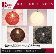 [SALE] Model: 1805-300/400mm Rattan Ball Design Single Pendant Lights Nordic Iron Minimalist Hanging