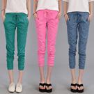 Korean summer big yards Slim thin cotton linen casual pants seven pantyhose female harem pants elastic