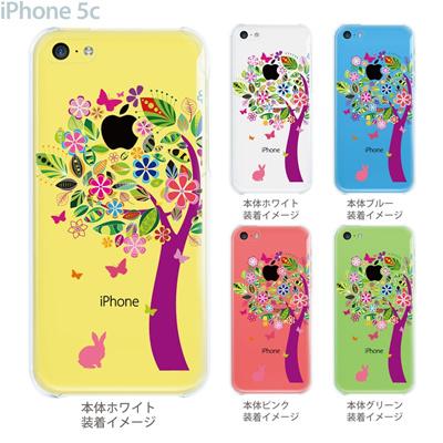 【iPhone5cケース】【iPhone5cカバー】【スマホケース】【クリア】【クリアケース】【イラスト】【クリアーアーツ】【花とウサギ】 22-ip5c-ca0074の画像