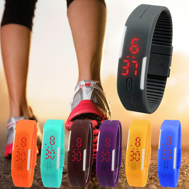 Qoo10New Ultra Thin Men Girl Sports Silicone Digital LED Sports Wrist Watch